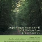 Lange Lesung zu Mittsommer II im Schwieriger Forst